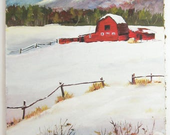 The Red Barn - Farm Country Landscape Painting - Vintage Oil Painting on Panel - 11x14 Winter Landscape - Canadian Art - Farmhouse Decor