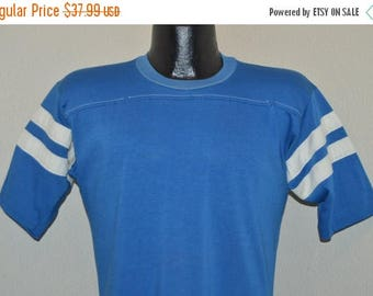 ON SALE 80s Blue White Striped Jersey Blank t-shirt Medium
