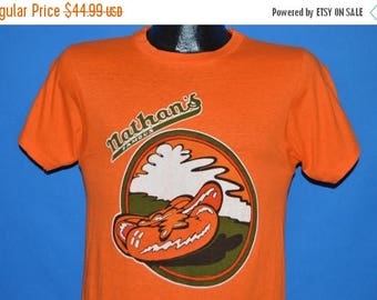 ON SALE 70s Nathan's Famous Hot Dogs t-shirt Small