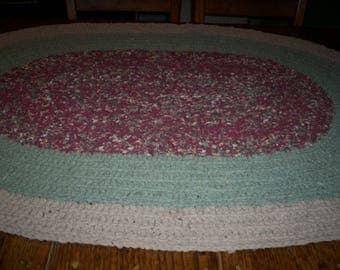 "Hand Crocheted Rag Rug, Burgundy Light Green and Tan, 33"" x 49"" Oval"