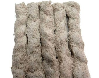 SALE New! Fuzzy Cotton Brushed Vegan Yarn, Off White/Champagne