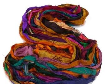 SALE NEW! Recycled Sari Silk Ribbon, Multi Mix Jewel Tones