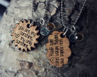 You are my sunshine necklace set | engraved | wooden necklace | unique gift | mothers day | mother daughter