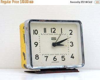 ON SALE Vintage Alarm Clock - Yellow Clock - Home Decor