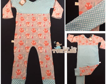 Orange Foxes Reversible Pull-On Romper- Size 2T