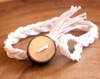 White Braided Bracelet, Button Bracelet, Rustic Bracelet, Wood Slice Bracelet, Braided Hemp Bracelet, Friendship Bracelet, Boho Bracelet