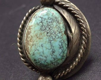 LOVELY Vintage NAVAJO Sterling Silver #8 Turquoise RING, size 5.75