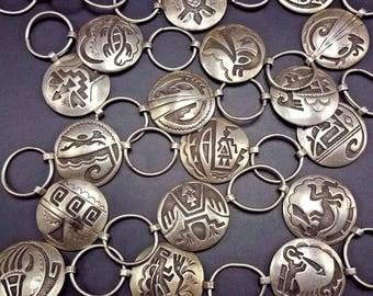 Heavy Vintage HOPI Sterling Silver OVERLAY Concho Link BELT, 17 Unique Designs