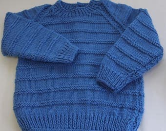 Blue Knit Cardigan-Kids knit clothing-Boys knit sweater-Childrens Jumpers-Hand Knitted Cardigan 3 years. Ready to ship now.