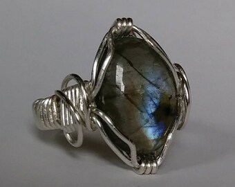 Labradorite and Silver Plate Ring