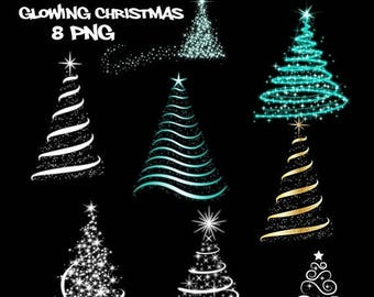 50% SALE Glowing christmas trees clipart, christmas decor, xmas clip art, fairy lights, sparkling stars, glowing lights, christmas lights, b