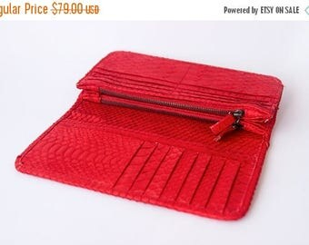 SUMMER SALES Red - Genuine Python snakeskin double fold wallet