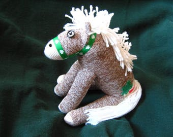 Sock Monkey Pony Horse Shamrock Tattoo and Halter- For Luck!  White Mane or Black Mane Stuffed Animal Toy Plush Doll