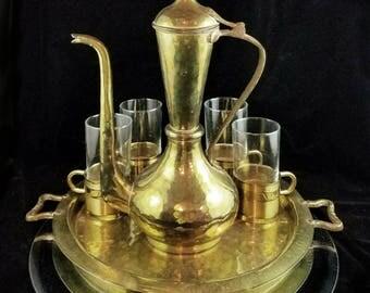 Complete Brass Tea Set Complete Service Brass Tea Pot Turkish Tea Set Brass Platter Brass Coffee Cups Brass Table Tray Pitcher Decanter Set