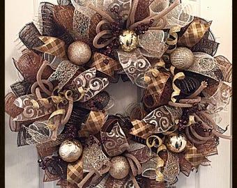 Christmas Chocolate, Gold and Brown Deco Mesh Wreath/Christmas Wreath/Gold and Brown Wreath/Chocolate, Cream, Gold and Brown Wreath
