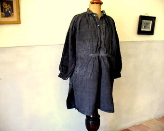 Antique French hemp or chanvre, dyed blotchy, inky blue, great antique condition. 1800's - 65 euro