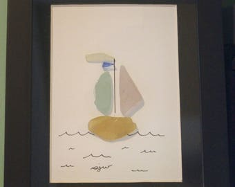Sailboat Sea Glass Framed Art
