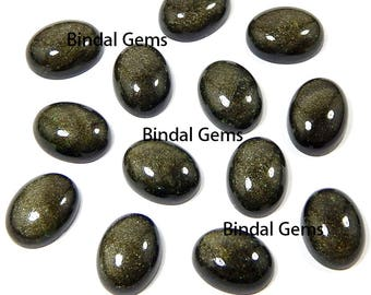 10 Pcs Natural Gold Sheen Obsidian Oval Shape Smooth Calibrated Cabochon Loose Gemstone