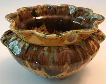 Gorgeous Vintage African Violet Pot Mottled Drip Glaze Ceramic Flower Pot