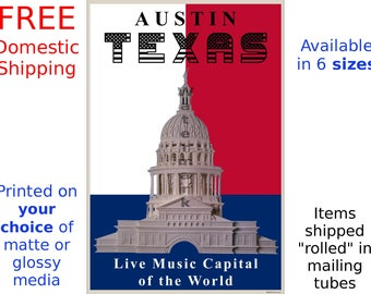 Austin, Texas - Live Music Capital of the World -Unique Poster/Print (186866790)