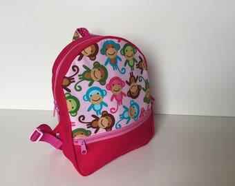 Backpack (M) 'Monkey Party' rose-pink