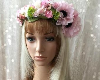ON SALE Pink Flower Crown, Baby Pink Flower Headband, Boho Headband, Flower Headband, Renaisance Festival, Flower Girl, Head Garland, Kentuc