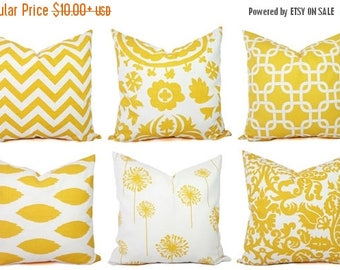 15% OFF SALE Yellow Throw Pillow Covers - Yellow and White Decorative Pillows - Throw Pillow Cushion Cover - Yellow Accent Pillow - Yellow P