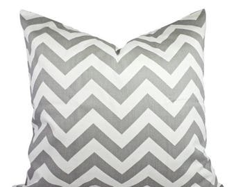 15% OFF SALE Two Grey Chevron Pillow Covers - Grey and White Throw Pillows - Throw Pillow Cushion Cover Accent Pillow - Grey Pillows