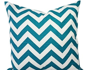 15% OFF SALE Turquoise Pillow Covers - Two Turquoise Chevron Pillow Covers - Decorative Throw Pillow - Chevron Pillow Cushion Cover Accent P