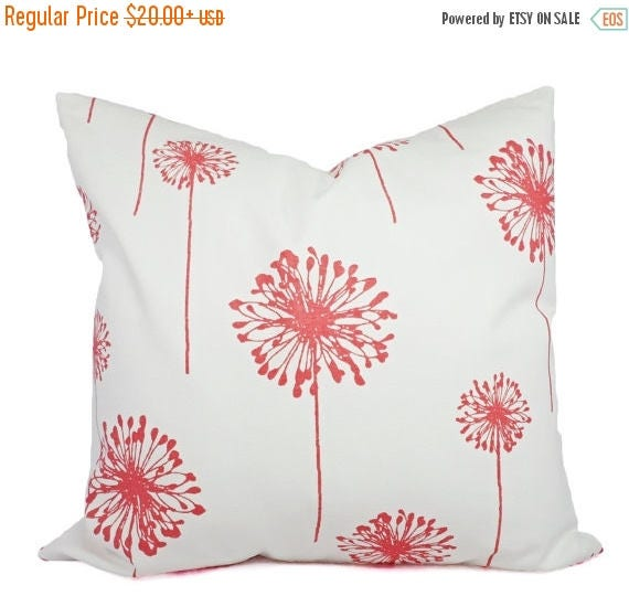OFF SALE Coral Throw Pillows Coral Dandelion Decorative