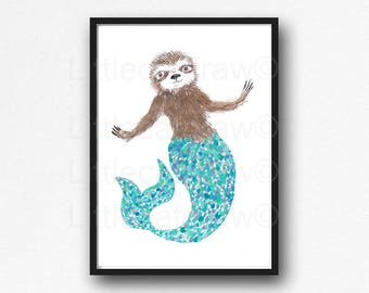 Sloth Print Mermaid Aqua Merman Mersloth Sloth Watercolor Painting Wall Art Animal Art Print Bedroom Wall Decor Sloth Gift Unframed