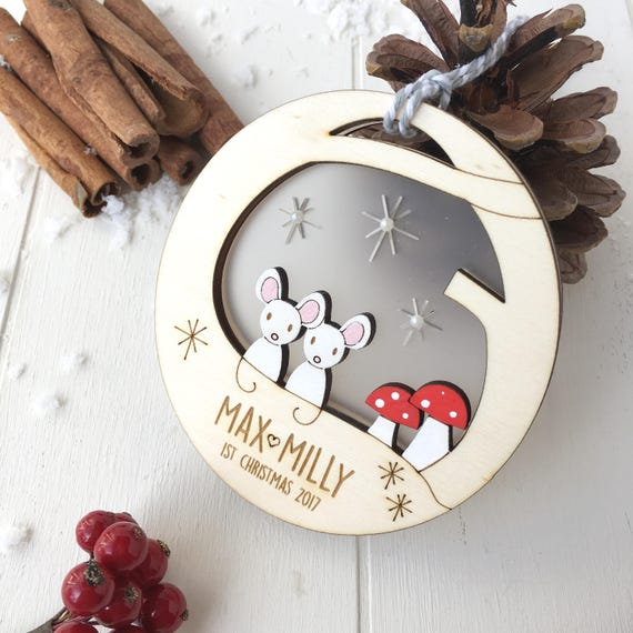 Baby twin's first Christmas mouse bauble - Personalised christmas bauble - Mouse tree decoration