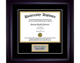 """Personalized Single Diploma Frame with Premium Black (2"""") Moulding"""