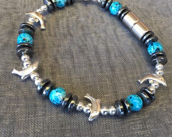 Magnets & Dolphins!  ~ Adorable Magnetic Bracelet featuring Dolphin Beads and Hand-painted Turquoise Magnetic Beads!!