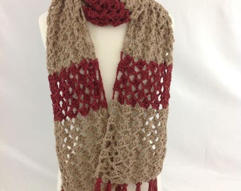 Lacey Alpaca Scarf with Fringe, Hand Crocheted, Two tone in  Medium Fawn and Brick, Extra Long