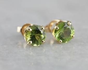 Round Peridot Gold Stud Earrings, August Birthstone HQR388-N