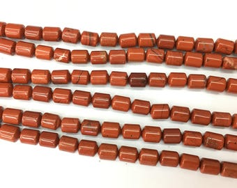 Red Jasper Beads, 6x8mm Barrel Beads, Smooth Natural Gemstone Beads For Jewelry Making, 15''