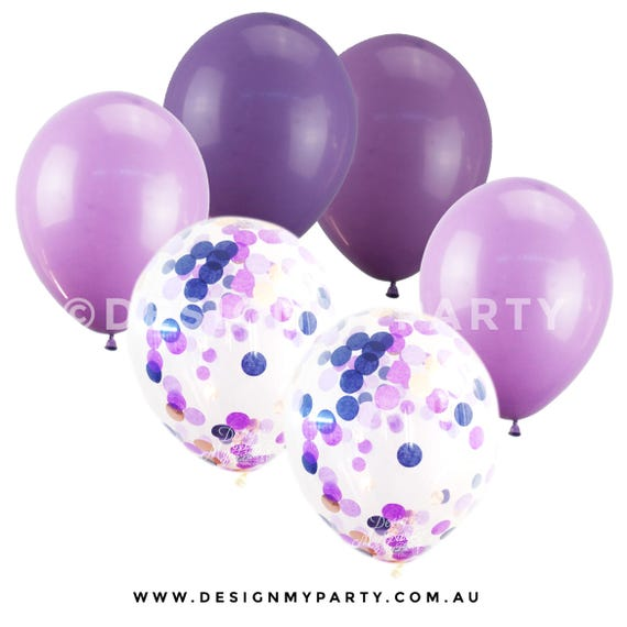Blueberry Glam Balloon Mix With 2 Confetti Balloons (12 ... - photo#2