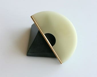 GOLDEN EDGE BROOCH | pink brooch, ivory brooch, black brooch, minimalist, gold, modern, statement jewelry, brooch pin, modern jewelry |