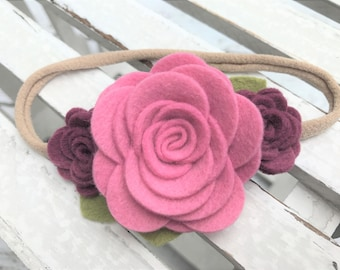 Felt flower headband - READY TO SHIP - nylon band - mauve and mulberry flower headband