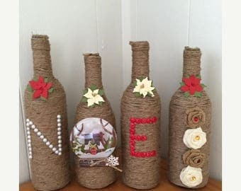 Christmas in July Sale-abration NOEL Twine Wrapped Christmas Wine Bottle decor