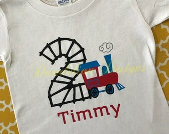 2nd Birthday Shirt Train Personalized Second Choo Choo Train Theme Two-Two Engine