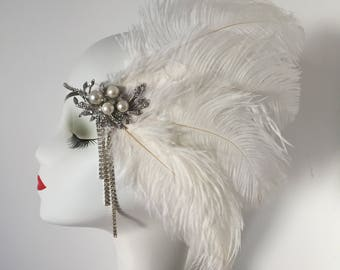 Art Deco Feather Rhinestone Hair Clip Headband Gatsby Party Wedding Headpiece
