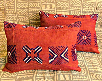 "One Pair ~ African Brown Mudcloth Pillow 18"" x 13"" African mudcloth bogolanfini accent pillows"