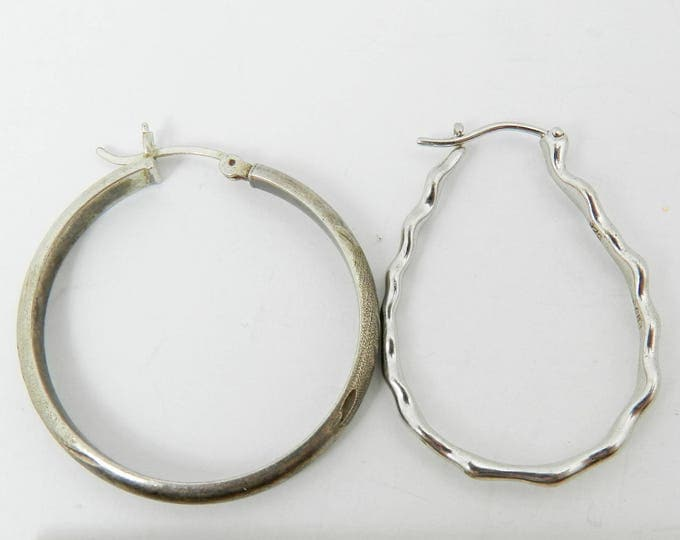 Vintage STERLING SILVER Earring Lot, Single Pieces Silver Hoop Earring, For Wear or Crafts, 925 Sterling Jewelry Lot, Designer Signed