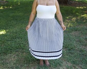 Vintage Navy White Houndstooth Midi Skirt