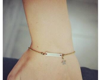 Soft bronze rectangle star Bracelet