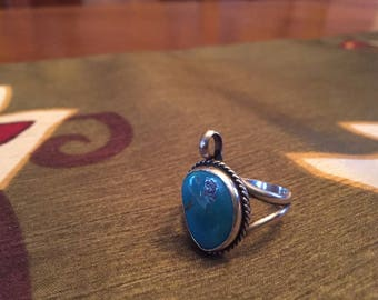 Turquoise and Sterling Silver Ring (Native American)