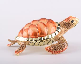 Red Sea Turtle Faberge Style Trinket Box Decorated with Swarovski Crystals Handmade by Keren Kopal
