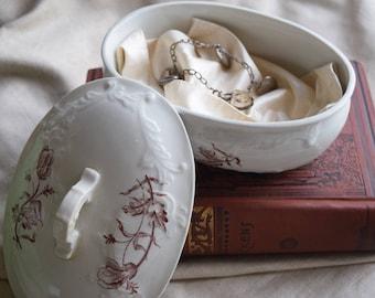 Victorian Transferware Jewelry Box, Antique Ironstone Covered Bowl Tureen, Brown Transferware Casserole